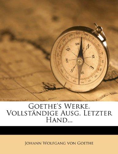 Goethe's Werke, vollständige Ausgabe letzter Hand, Eilfter Band