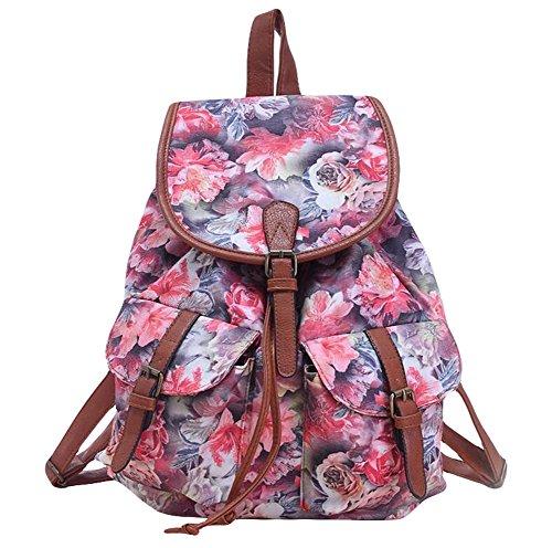 Nikgic Schultasche Geschäftsrucksack Schulrucksack Tasche Rucksack Schulranzen Kinderrucksack aus Leinwand für Schulezuhause oder Damen Rot