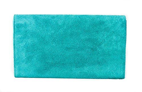 Pochette da donna in vera pelle scamosciata italiana, con catena d'oro, ideale per feste di nozze o da sera Aqua blue