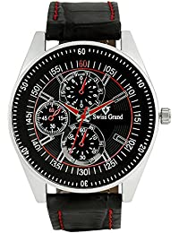 Swiss Grand SG-1158 Black Coloured With Black Leather Strap Analog Quartz Watch For Men