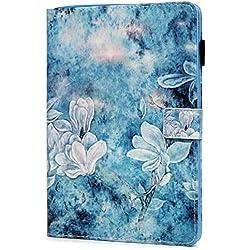 iPad 9.7 Zoll Leather Hülle, Ultra Slim Stoßfest Smart Schutzhülle mit Auto Einschlaf/Aufwach Ständer Klapphülle Tablethülle Skin Soft Schale Bumper für iPad / air / air 2 / 9.7 2017/2018 Gardenie