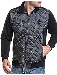 BLZ jeans - Veste sweat zippé noir effet matelassé