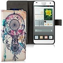 kwmobile Funda para Huawei Ascend G7 - Wallet Case plegable de cuero sintético - Cover con tapa tarjetero y soporte Diseño Atrapasueños con manchas en multicolor azul blanco