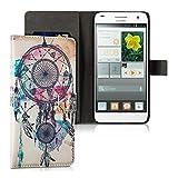 kwmobile Funda para Huawei Ascend G7 - Wallet Case plegable de cuero sintético - Cover con tapa...