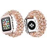 Qianyou Apple Watch Armband mit Hülle,38mm Perlenarmband Apple Watch Elastisches Uhrenarmband Armbänder mit Edelstahl Case für Apple Watch Series 1 Series 2 Series 3 Sport Edition Nike+,Rosa