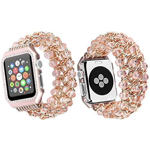 Preisvergleich Produktbild Qianyou Apple Watch Armband mit Hülle, 38mm Perlenarmband Apple Watch Elastisches Uhrenarmband Armbänder mit Edelstahl Case für Apple Watch Series 1 Series 2 Series 3 Sport Edition Nike+, Rosa