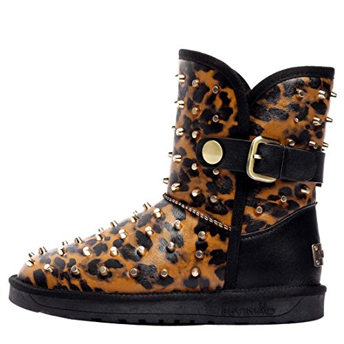Verziert Schnee Stiefel (HooH Damen Leder Schnalle Warm Schneestiefel 5630-Gelb-40)
