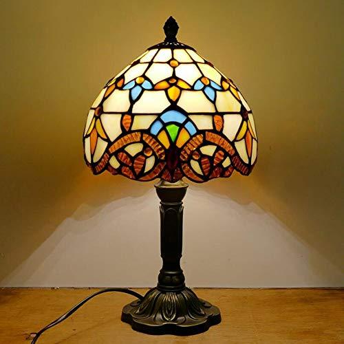 Beige Glasschirm (8 Zoll Tiffany Style Tischlampe Einfache, europäische mediterrane Stil Restaurant Bar Cafe Kleine Tischlampe Glasschirm Nachttischlampe (Farbe : Beige))