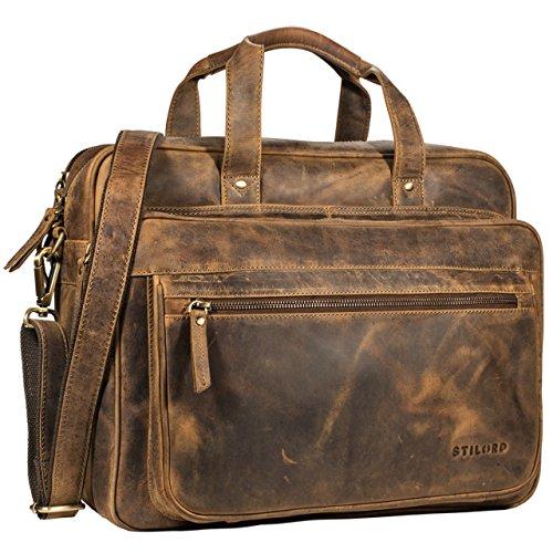 STILORD 'Walt' Vintage Aktentasche Leder Herren Damen Lehrertasche XL groß Büro Business Umhängetasche für 15,6 Zoll Laptop Echt Leder , Farbe:mittel - braun (Ranzen Leder)