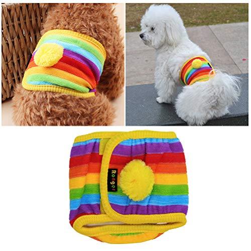 Balacoo Haustier Hund Windel Hosen Baumwolle physiologische Unterwäsche Wrap Bauchband Haustiere festziehen Damenbinden Hosen für Rüden Regenbogen -
