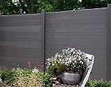 WPC / BPC Sichtschutzzaun dark grey 12 Zäune inkl. 13 Pfosten Sichtschutz Gartenzaun Zaun
