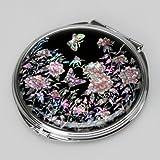 Specchio a Mano In Madreperla Arte Deco Specchio Compatto Specchio Tascabile Con Motivo Farfalle