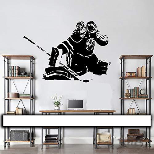 Hockey Goalie Wall Decal/Wandkunst Vinyl Aufkleber Edmonton Oilers Cam Talbot Spieler Silhouette Wohnkultur Kinder Teen SchlafzimmerMedium 56X81cm