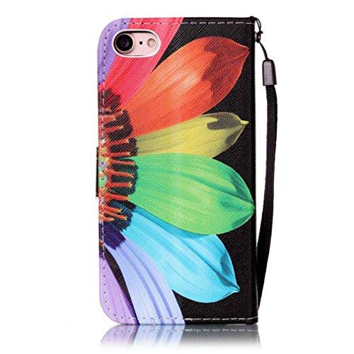 A9H iPhone 7 Wallet Tasche Hülle - Ledertasche im Bookstyle in Braun - [Ultra Slim][Card Slot][Handyhülle] Flip Wallet Case Etui für iPhone 7 -12A 10A