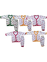 Manzon Babies White Printed Front Open To & Pant - Set of 5