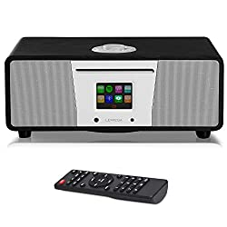 LEMEGA M4+ All-in-One Smart Music System (2.1 Stereo) with CD, Wi-Fi, Internet Radio, Spotify, Bluetooth, DLNA, DAB, DAB+, FM Radio, Clock, Alarms, Presets, and Wireless App Control - Schwarze Eiche