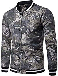 BUSIM Men's Long Sleeved Sweater Autumn Winter Casual Pullover Trend Personality Camouflage Snake Pattern Luo...
