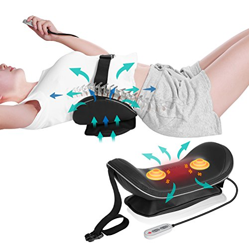 Naipo Lendenwirbelstütze Rücken Lendenkissen Stützt Lumbar Support Pillow - Rückenkissen Luftdruck Aufblasbar-Traktion mit Wärmefunktion Vibration für die Linderung der Taille Rückenmüdigkeit