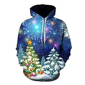 EUZeo Paar Stil Unisex Weihnachts Kapuzenpullover Herren Damen Weihnachten 3D Drucken Kapuzenpulli Kapuze Pullover Casual Strickjacke Sweatshirts Trainingsanzüge