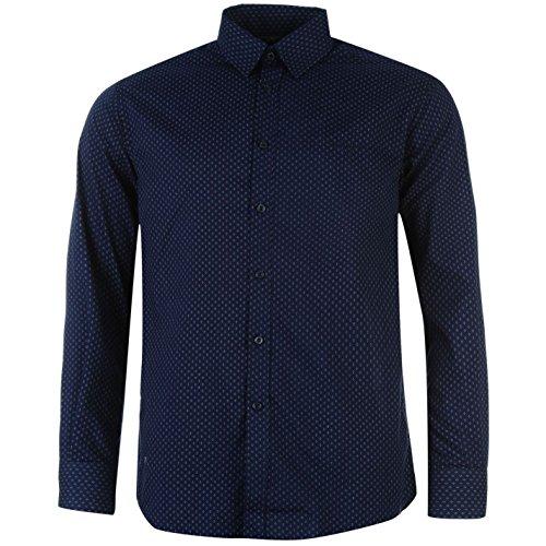 Pierre cardin-camicia da uomo tempo libero camicia a maniche lunghe nvy/weiss geo large