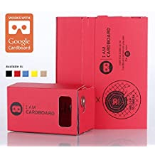 I AM CARDBOARD® 45mm Focal Length Virtual Reality Google Cardboard with Printed Instructions and Easy to Follow Numbered Tabs (WITHOUT NFC) - RED