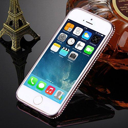 Wkae Case Cover Für iPhone SE &5s &5 Diamond verkrustete Galvanik-Rahmen-Blitz-Puder TPU-Schutzhülle ( Color : Silver ) Rose Gold
