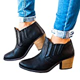Kootk Boots for Women Ankle Winter Autumn Cut Out Stacked Mid Low Heel Western Slip On Pointed Toe Booties