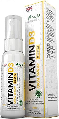 Vitamine D3 3.000 UI Spray | 30 ml double quantité par rapport aux Marques Concurrentes | Arôme naturel | Haute Puissance | Absorption améliorée | Végétarien | Spray de Vitamine D3 par Nu U Nutrition