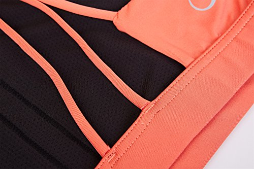 icyZone Damen Yoga Oberteile Sport BH mit Gepolstert Fitness Workout Top Fusion Coral