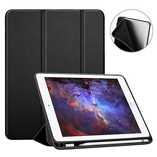 Fintie SlimShell Hülle für iPad 9.7 2018 - Superleicht Soft TPU Rückseite Abdeckung Schutzhülle mit eingebautem Apple Pencil Halter, Auto Schlaf/Wach für iPad 6. Generation, Schwarz