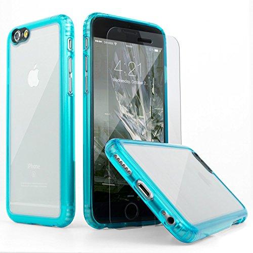 iPhone 6 Hülle, (Türkis Klar) SaharaCase® + [ZeroDamage gehärtetes Glas Bildschirmschutz] Schutz Kit Paket mit Null Schaden Robuster Schutz Anti-Rutsch-Griffigkeit [Stoß sicherer Puffer] Schlanke Passform (Iphone 6 Att 16gb Verwendet)
