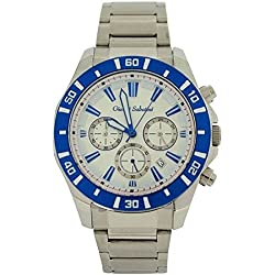 Gianni Sabatini Gents White Chrono Date Dial Stainless Steel Dress Strap Watch