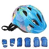 MagiDeal 7 Pieces Kid Children Safety Helmet Knee Wrist Elbow Pad Sets for Roller Skating Bike Skateboard Scooter - blue