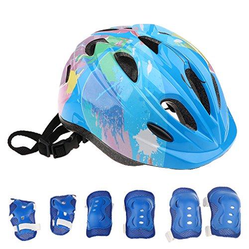 sharplace 7-teilig Kinder Kinder Roller Skating Fahrrad Scooter Helm Knie Ellbogen Pad Handgelenk Guard Set Pink Blau Rot, blau