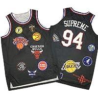 Camisetas Baloncesto #94 Supreme,Chaleco Prensado En Caliente Cuello Redondo Y Marca Compartida Todos Los Logotipos del Equipo Baloncesto Transpirable Swingman Edition Ball Wear-Black-S