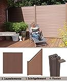 WPC/BPC Sichtschutzzaun terrabraun 2 Zäune, 1 Schrägelement inkl. 4 Pfosten Sichtschutz Gartenzaun