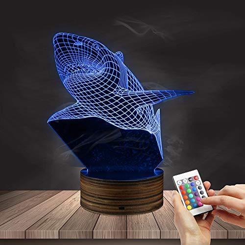3D Led Nachtlicht Ferngesteuerte Nachtlampe 3D-U-Boot-Shark-Stereolampe Unterwasserverfärbung Visuelle Lampe Holzferngesteuerte Verfärbung