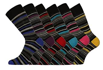 6 Pk Mens Pierre Calvini Luxury Stripe Cotton Rich Sock 6-11 UK