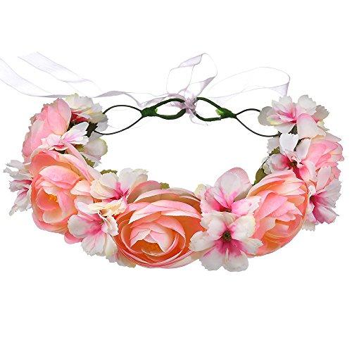 AdorabFitting Girlande garland girlande guder kranz gudelj grunwald Europäische und amerikanische handgemachte künstliche rosafarbene Blume hellrot