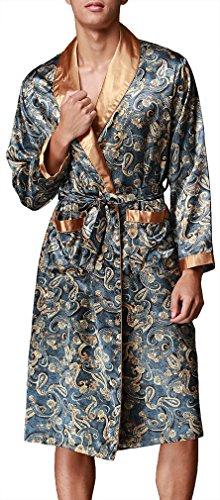 OLIPHEE Herren Satin Bademäntel Paisley Pattern Kimono Morgenmantel Blau-1 EUR L (Asien 2XL)