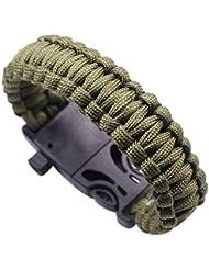 Babysbreath Cuerda al aire libre Paracord Survival Gear Escape Pulsera Flint Whistle Compass verde militar