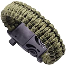 Babysbreath Cuerda al aire libre Paracord Survival Gear Escape Pulsera Flint Whistle Compass verde militar