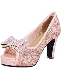 Vitalo Donna Scarpe Aperte Decolte Sandali Estivi Eleganti Glitter Fiocco  Pizzo Plateau Slip on con Alto 389ced280ed