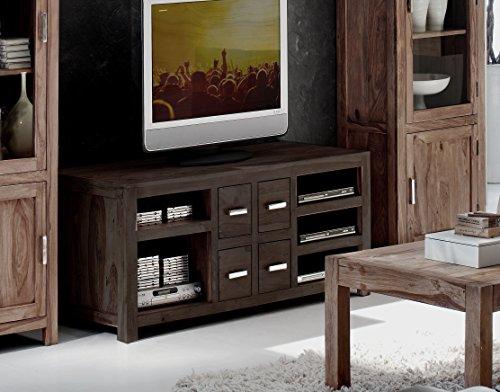SAM TV-Schrank Wales 1515 stonefarbenes Sheesham Palisanderholz Massivholz handgearbeitet TV Schrank 150 cm breit mit Vier Schubladen, fünf Ablagefächern, geölte Oberfläche