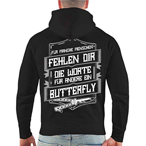 Männer und Herren Kapuzenpullover La Familia Butterfly (mit Rückendruck) Größe S - 8XL schwarz/tarn Kapuze