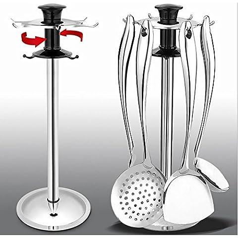 Duode Time-Pezzo unico in acciaio INOX da 6 ganci, per utensili da cucina, con finiture satinate e Set di movimento 360°-Supporto per mestolo