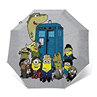 Dr Who Doc Minion 12 and Chums Windproof Compact Auto Open and Close Folding Umbrella,Automatic Foldable Travel Parasol Umbrella