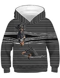 Mitlfuny Primavera Otoño Bebé Camisetas de Manga Larga Sudaderas con Capucha  Perro Estampado Dibujos Animados Rayas 961489cc3eaa