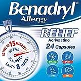 Benadryl Allergy Relief Capsules - Fast-Acting Antihistamine Capsules - Starts to work in 15 minutes - 24 Capsules