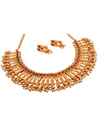 DeAaaStyle Antique Gold Plated Copper Temple Necklace Set With Earrings For Women And Girls For Traditional Wedding - B07C7195HD